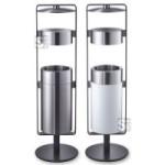 Abfallbehälter -CREW 02- mit Dach und Ascher, Volumen 21 Liter, wahlweise weiß beschichtet