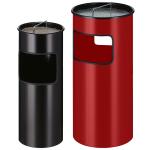 Abfallbeh&auml;lter -P-Bins 57-, 30 oder 50 Liter aus Stahl, mit Ascher, feuerfest (Volumen/Ma&szlig;e (&Oslash;xH&ouml;he)/Farbe:  <b>30 Liter</b>/243x613mm<br>aluminium-grau (Art.Nr.: 24183))