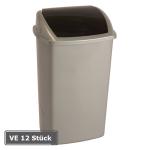 Abfallbeh&auml;lter -Swing-Top-, VE 12 St&uuml;ck, 50 Liter aus Kunststoff, mit Schwingdeckel (Farbe/Verpackungseinheit:  <b>blau/beige</b>/VE 12 Stk. (Art.Nr.: 16932))