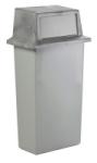 Abfallbehälter -Wall-Hugger- 80 Liter aus Kunststoff, mit Pushdeckel (Farbe: hellgrau/dunkelgrau (Art.Nr.: 16945))