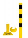 Absperrpfosten -Bollard- 70 x 70 mm, gelb / schwarz, allseitig neigbar, ortsfest (Ösen: 1 Öse (Art.Nr.: 470npbg-1))
