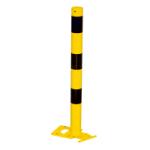 Absperrpfosten -Bollard- Ø 76 mm, gelb / schwarz, lösbar und abnehmbar (Ösen: 1 Öse (Art.Nr.: 476apbg-1))