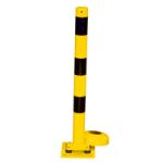 Absperrpfosten -Bollard- Ø 89 mm, gelb / schwarz, allseitig neigbar, ortsfest (Ösen: 1 Öse (Art.Nr.: -1))
