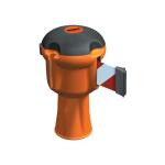 Absperrsystem -Skipper- Gurtl&auml;nge 9 m, verschiedene Gurt- und Geh&auml;usefarben (Modell:  <b>Geh&auml;use gr&uuml;n</b><br>Gurt rot/wei&szlig; schraffiert (Art.Nr.: 14697))