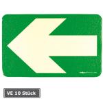 Boden- / Wandmarkierungspfeil aus Aluminium, VE 10 St&uuml;ck, gr&uuml;n-langnachleuchtend (Oberfl&auml;che/Verpackungseinheit:  <b>ohne Anti-Rutsch-Effekt</b>/VE 10 Stk. (Art.Nr.: 15.7476))