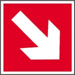 Brandschutzschild, Richtungsangabe schr&auml;g (Ma&szlig;e(BxH)/Material: 200x200mm/Folie,<br>selbstklebend,nicht langnachl. (Art.Nr.: 21.2729))