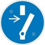 Elektrokennzeichnung / Gebotsschild, Vor Wartung oder Reparatur freischalten (Größe Ø/Material: 100mm/Folie,selbstklebend (Art.Nr.: 21.a7435))