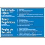 Elektrokennzeichnung / Hinweisschild, 5 Sicherheitsregeln, 3-sprachig