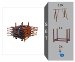 Faltgerüstbock Komplett-Set, inkl. 10 Faltgerüstböcken -Compakt S- (Breite 1200 mm), Stapelpalette und Zurrgurten