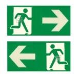 Fluchtweghinweise für Leitmarkierungsstreifen, grün / transp., selbstklebend, nicht nachleuchtend (Maße (BxH)/Richtungsweisung: 100x50mm/rechtsweisend (Art.Nr.: 90.4973r))