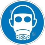 Gebotsschild, Atemschutz benutzen (Maße Ø / Material: 100mm/Folie,selbstklebend (Art.Nr.: 21.a7205))