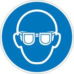 Gebotsschild, Augenschutz benutzen (Maße Ø/Material: 100mm/Folie,selbstklebend (Art.Nr.: 21.a7005))