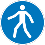 Gebotsschild, Fußgängerweg benutzen (Maße Ø/Material: 100mm/Folie,selbstklebend (Art.Nr.: 21.a7380))
