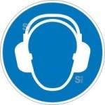 Gebotsschild, Gehörschutz benutzen (Maße Ø /Material: 100mm/Folie,selbstklebend (Art.Nr.: 21.a7055))