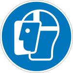 Gebotsschild, Gesichtsschutz benutzen (Größe Ø / Material: 100mm/Folie,selbstklebend (Art.Nr.: 21.a7252))