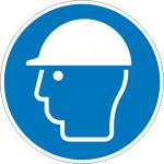 Gebotsschild, Kopfschutz benutzen (Maße Ø /Material: 100mm/Folie,selbstklebend (Art.Nr.: 21.a7155))