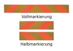 Heckmarkierungen Hart-Aluminium o. Folie, ECE 70, f&uuml;r Zugmaschinen, Voll- / Halb- / Viertelmarkierung (Modell/Ma&szlig;e (BxH)/Material/St&uuml;ckanzahl:  <b>Halbmarkierung selbstklebend</b><br>132x566mm/Folie 0,5mm/<br>(je 1 Stk. x links- u. rechtswe