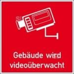 Hinweis-Kombischild, Geb&auml;ude wird video&uuml;berwacht (Gr&ouml;&szlig;e/Material: 30 x 30 mm/Folie<br>12er Bogen (Art.Nr.: 30.g5021))