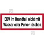 Hinweisschild, EDV im Brandfall ...