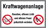 Hinweisschild für Tankanlagen und Garagen, Kraftwagenanlage ...