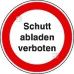 Hinweisschild zur Baustellenkennzeichnung, Schutt abladen verboten
