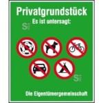 Hinweisschild zur Grundbesitzkennzeichnung, Privatgrundstück, Es ist untersagt...