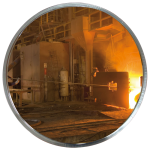 Industriespiegel Vialux® für spezielle Umgebungen, Edelstahl, gem. CE-Vorschrift, rund (Halterung: Universal-Halterung aus Stahl (Art.Nr.: 32846))