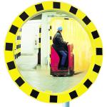 Industriespiegel Vialux&reg;, schwarz / gelb, rund (Material/Garantie:  <b>Miroirs&reg; P.A.S.</b>/5 Jahre Garantie<br>auf die Funktion (Spiegelglas,<br>Rahmen,Halterung) (Art.Nr.: 19989))