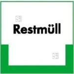 Kennzeichnungsschild Restmüll (Maße (BxH)/Material: 100x100mm/Folie,selbstklebend/ umweltschonend (Art.Nr.: 35.6777))