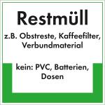 Kennzeichnungsschild Restmüll (Maße (BxH)/Material: 100x100mm/Folie,selbstklebend/umweltschonend (Art.Nr.: 35.6781))