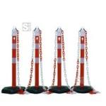 Kettenpfosten 4er-Set -Jumbo- aus Kunststoff, Höhe 1000 mm, Ø 63 mm, inkl. Absperrketten, max. Aufstelllänge 10 m, rot / weiß (Modell: ohne retroreflektierende Streifen (Art.Nr.: 11727))