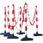 Kettenpfosten 6er-Set -Guarda-, Kunststoff, H 870 mm, &Oslash; 40 mm, Absperrkette, max. Aufstelll. 10 m (Fu&szlig;/Form/Ma&szlig;e/Pfostenfarbe/Einzelgewicht: Kunststoff-Fu&szlig;/betongef&uuml;llt<br>dreieckig/300mm/ <b>rot-wei&szlig;</b><br>3,4 kg (Art.
