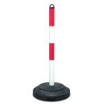 Kettenpfosten -Extern- aus Stahl, H&ouml;he 1000 mm, &Oslash; 60 mm, mit Recyclingfu&szlig; (Ausstattung:  <b>rot/wei&szlig;</b><br>ohne reflektierende Rotringe (Art.Nr.: 11658))