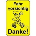 Kinderhinweisschild, Fahr vorsichtig Danke!, gelb / schwarz, 500 x 750 oder 650 x 1000 mm (Maße (BxH): 500x750mm (Art.Nr.: 14775))