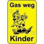 Kinderhinweisschild, Gas weg Kinder, gelb / schwarz, 500 x 750 oder 650 x 1000 mm (Maße (BxH): 500x750mm (Art.Nr.: 14773))