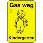 Kinderhinweisschild, Gas weg Kindergarten, gelb / schwarz, 500 x 750 oder 650 x 1000 mm (Maße (BxH): 500x750mm (Art.Nr.: 14777))