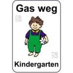 Kinderhinweisschild, Gas weg Kindergarten, mehrfarbig, 500 x 750 oder 650 x 1000 mm (Maße (BxH): 500x750mm (Art.Nr.: 14761))