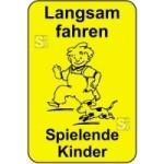 Kinderhinweisschild, Langsam fahren Spielende Kinder, gelb / schwarz, 500 x 750 oder 650 x 1000 mm (Maße (BxH): 500x750mm (Art.Nr.: 14792))