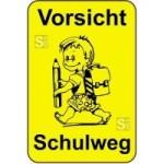Kinderhinweisschild, Vorsicht Schulweg, gelb / schwarz, 500 x 750 oder 650 x 1000 mm (Maße (BxH): 500x750mm (Art.Nr.: 14771))