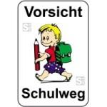 Kinderhinweisschild, Vorsicht Schulweg, mehrfarbig, 500 x 750 oder 650 x 1000 mm (Maße (BxH): 500x750mm (Art.Nr.: 14755))