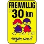 Kinderschild / Verkehrszeichen, FREIWILLIG 30 km wegen uns!!, 500 x 750 oder 650 x 1000 mm (Maße (BxH): 500x750mm (Art.Nr.: 14798))