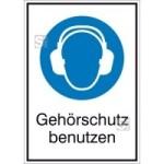 Kombischild mit Gebotszeichen und Zusatztext, Gehörschutz benutzen (Maße (BxH)/Material: 131x185mm/Folie,selbstklebend (Art.Nr.: 21.a7080))