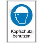 Kombischild mit Gebotszeichen und Zusatztext, Kopfschutz benutzen (Maße (BxH)/Material: 131x185mm/Folie,selbstklebend (Art.Nr.: 21.a7175))