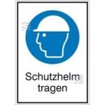 Kombischild mit Gebotszeichen und Zusatztext, Schutzhelm tragen (Maße (BxH)/Material: 131x185mm/Folie,selbstklebend (Art.Nr.: 21.a7180))