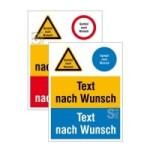 Kombischild mit Warn-, Gebots- und Verbotszeichen nach Wahl und Wunschtext (Ma&szlig;e (BxH)/Material: 150 x 200 mm<br>Folie, selbstklebend (Art.Nr.: 21.a8001))