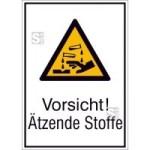 Kombischild mit Warnzeichen und Zusatztext, Vorsicht! Ätzende Stoffe (Maße (BxH)/Material: 131x185mm/Folie,selbstklebend (Art.Nr.: 21.a8125))