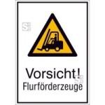 Kombischild mit Warnzeichen und Zusatztext, Vorsicht! Flurförderzeuge (Maße (BxH)/Material: 131x185mm/Folie,selbstklebend (Art.Nr.: 21.a8050))