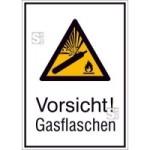 Kombischild mit Warnzeichen und Zusatztext, Vorsicht! Gasflaschen (Maße (BxH)/Material: 131x185mm/Folie,selbstklebend (Art.Nr.: 21.a8015))