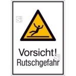 Kombischild mit Warnzeichen und Zusatztext, Vorsicht! Rutschgefahr (Maße (BxH)/Material: 131x185mm/Folie,selbstklebend (Art.Nr.: 21.a8020))