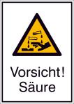 Kombischild mit Warnzeichen und Zusatztext, Vorsicht! Säure (Maße (BxH)/Material: 131x185mm/Folie,selbstklebend (Art.Nr.: 21.a8130))